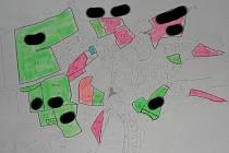 Takhle měl vypadat územní plán. Růžově a zeleně označené území patří většinou zastupitelům obce Běloky.