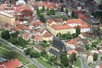 Letecký pohled na město Slaný