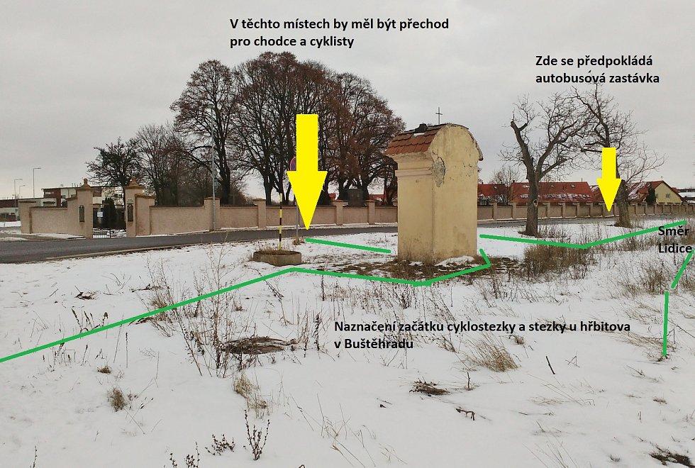 Silnice mezi Buštěhradem a Lidicemi I/61. U Buštěhradského hřbitova vznikne přechod a autobusové zastávky.
