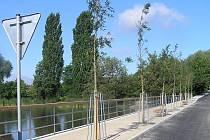 Na zpevněné hrázi braškovského rybníka bylo vybudováno několik nových laviček pro posezení.