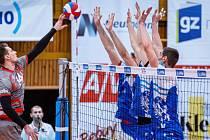 Volejbalové Kladno (v modrém) podlehlo pražským Lvům také v předsilvestrovské odvetě, 1:3.
