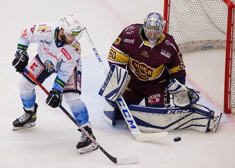 Třetí zápas finále hokejové Chance ligy mezi HC Dukla Jihlava a Rytíři Kladno.
