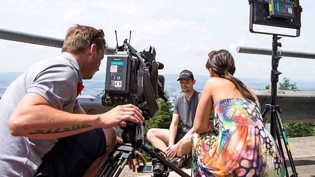Jan Jirotka při natáčení TV rozhovoru.