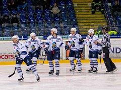 Ústí - Kladno, třetí zápas play off. Rytíři slaví první branku.