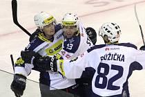 Jiří Kuchler (vlevo) slaví svůj druhý gól proti Spartě.