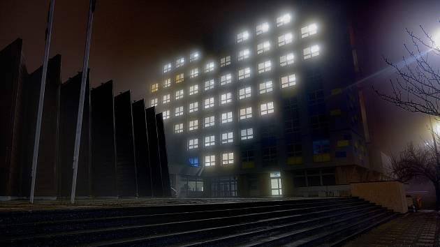 Srdce na budově Kokosu v Kladně.