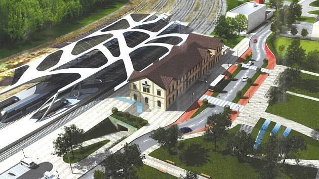 Jeden z návrhů možné podoby nádraží Kladno.