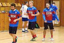 Sraz futsalové reprezentace ČR v Kladně. Tomáš Vnuk, David Drozd, Jan Janovský