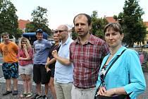 Protestní akce ve Slaném - Udej bližního svého. Miloslav Nič druhý zprava.