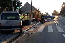 Nehoda na silnici v Luníkově.