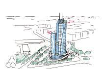 Návrh na mrakodrap v Kladně.