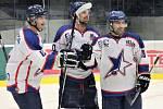 Hvězda Kladno (v bílém) - Černošice B 6:7 pp. Bratři Havlůjové ze známé skautské rodiny, jejich táta vybral do NHL řadu borců.