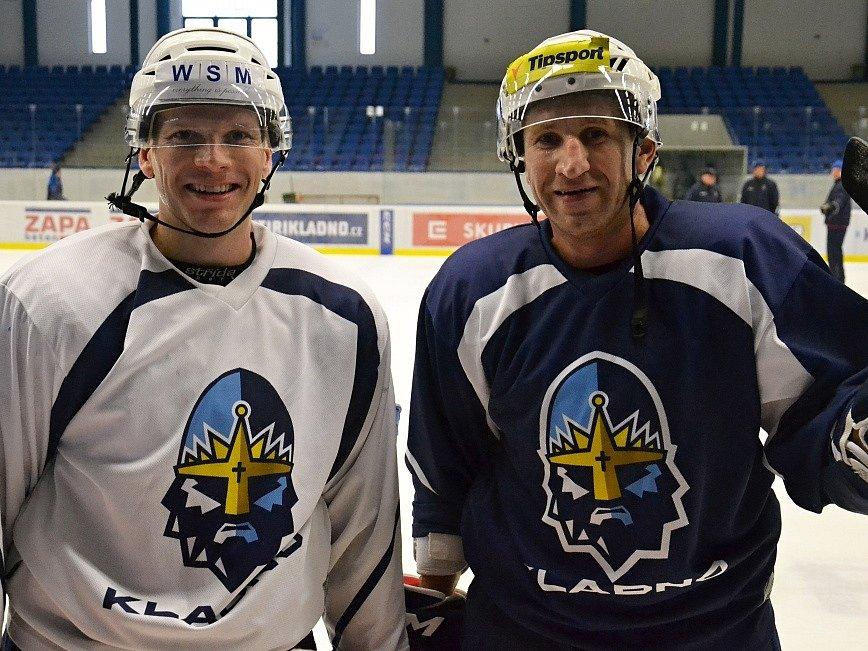 František Ptáček (vlevo) a Václav Pletka poprvé na tréninku Rytířů Kladno.