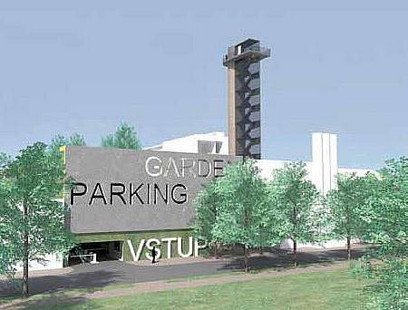 Vizualizace přestavby nemocničního komína a kotelny na rozhlednu a parkovací dům.