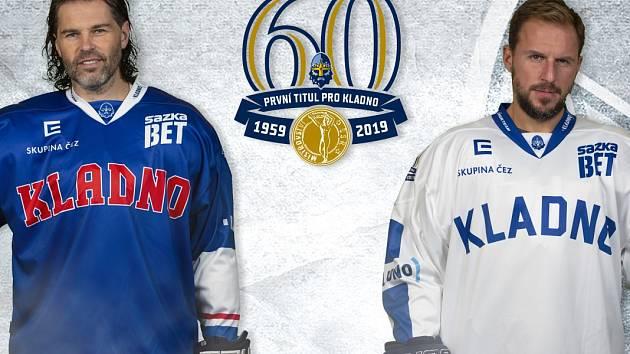 Jaromír Jágr a Petr Vampola představují repliky dresů Kladna z roku 1959, kdy vybojovalo první titul.