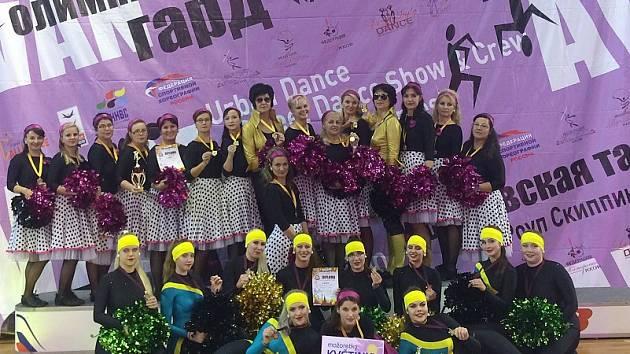 mažoretky Květinky Sokol Kladno na Grand Prix Moskvy.