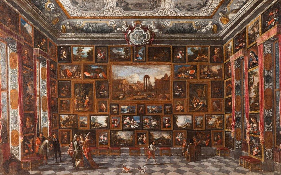 Jan Michal Brettschneider - Pohled do obrazárny (NPÚ - Státní zámek Jaroměřice nad Rokytnou) – kolem roku 1700, olej na plátně.