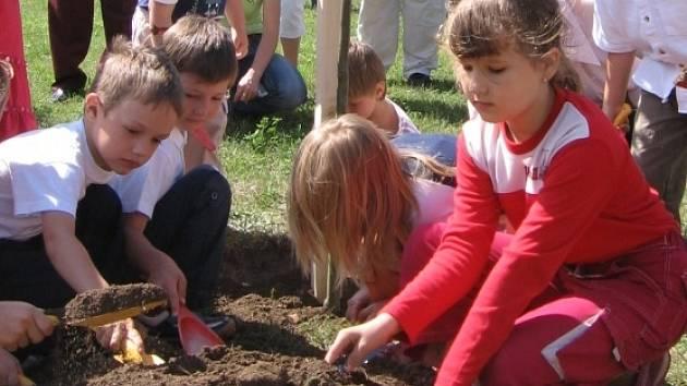 Lidice mají nejdelší lipovou alej v České republice. Další živý symbol českého státu v sobotu zasadily děti v místním parku.