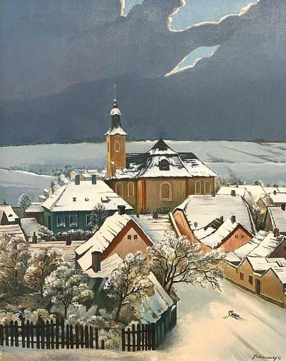 Obraz zimních Lidic od Jiřího Bohdaneckého, který visí v kanceláři ředitele památníku.