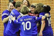 Postupová radost /  FBC Kladno - Bohemians Praha 9:6, florbalová 1. liga, poslední finále (serie 3:1),4.4.2010 / Kladno postupuje do extraligy