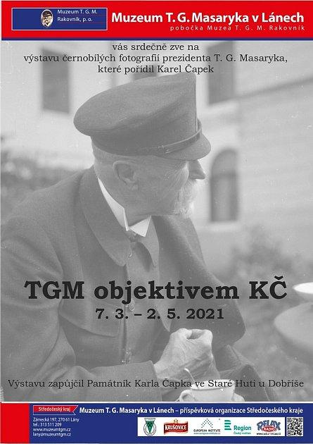Plakát kvýstavě TGM objektivem KČ.