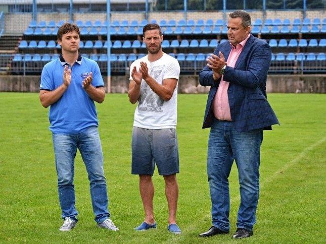 Kladenský pohár 2016, čestní hosté (zprava) primátor Milan Volf, radek Šírl a reprezentační trenér U15 Petr Janoušek