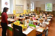 Prvňáčci v Základní škole v Doberské ulici v Kladně.