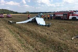 Z pádu letadla nedaleko obce Žilina 4. září 2021.