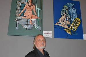 Z výstavy obrazů Přemysla Povondry v kladenském domě kultury.