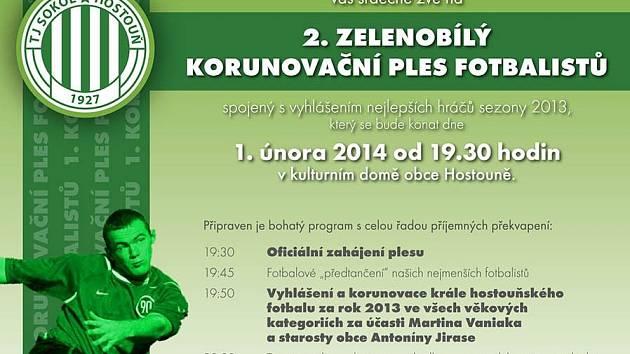 Pozvánka na ples Sokola Hostouň.