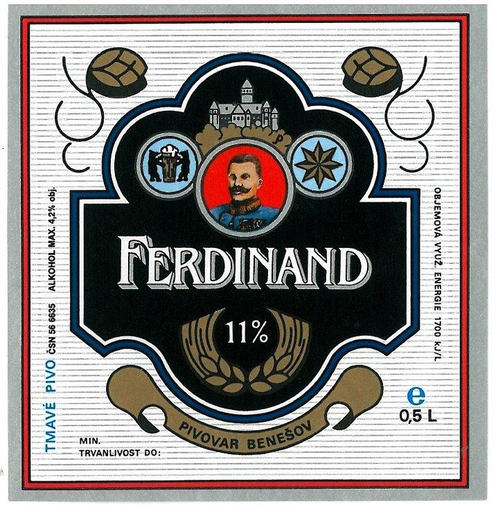 Další verze tmavé etikety, která zdobila  v osmdesátých letech minulého století jedenáctistupňový ležák Ferdinand.