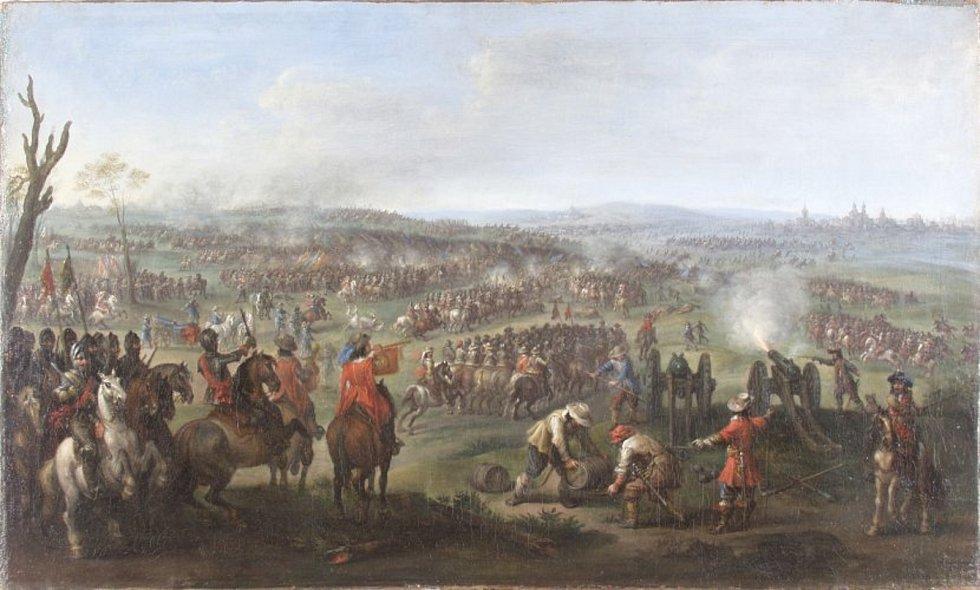 Peeter Snayers (?) - Bitva na Bílé Hoře dne 8. listopadu 1620 (Ingolstadt, Bayerisches Armeemuseum), asi 20. léta 17. století, olej na plátně.
