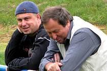 Vladimír Poupa (vpravo) s téměř jmenovcem a někdejším svěřencem ze Slovanu, Otou Poupětem.