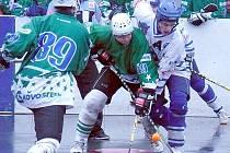 Petr Ogurčák (v bílém) bojuje s hrajícím trenérem Sudoměřic Tomášem Hofrichterem.