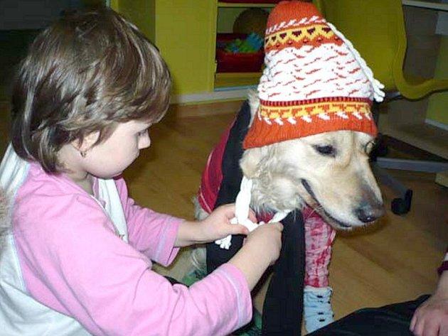 OBLÉKÁNÍ A ČESÁNÍ TERAPEUTICKÝCH psů je jedním z postupů canisterapie. V Oblastní nemocnici Kladno se tato činnsot soustředí na společenskou terapii, při které hospitalizované děti psy nejen oblékají a hladí, ale také modelují a malují.