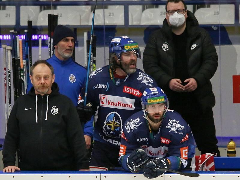 Jaromír Jágr reaguje na výrok sudího // Rytíři Kladno - HC Dukla Jihlava 1:2, Finále play off Chance ligy, 25. 4. 2021