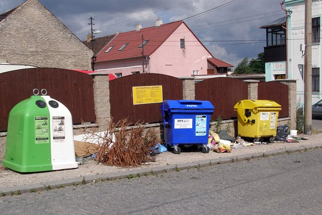 U kontejnerů v Dělnické ulici ležel i vánoční stromek.
