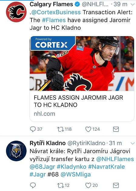 Jaromír Jágr míří do Kladna. Potvrdil to iklub na twitterovém účtu. Zdroj: Twitter HC Rytíři Kladno