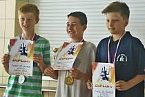 Ondřej Popovský ze Sokolu Buštěhrad (uprostřed) vyhrál ve FINÁLE STŘEDOČESKÉHO KRAJSKÉHO PŘEBORU MLÁDEŽE 2017 kategorii H14 před Martinem Švejkem a Kryštofem Křížkem