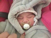 ADÉLA FRUNDZOVÁ, UNHOŠŤ. Narodila se 24. prosince 2017. Po porodu vážila 2,80 kg a měřila 47 cm. Rodiče jsou Renata Frundzová a Lukáš Červeňák. (porodnice Kladno)