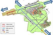 Mapa letiště s vyznačenými drahami a místem oprav.