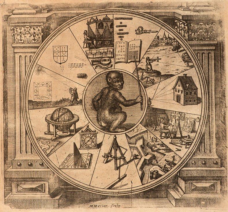 Robert Fludd, Utriusque cosmi maioris scilicet minoris metaphysica, physica atque technica historia (Praha, Královská kanonie premonstrátů na Strahově – Strahovská knihovna) – vydána vOppenheimu v roce 1617 a Frankfurtu nad Mohanem vroce 1624.