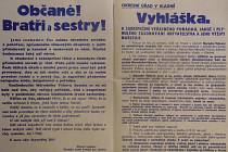 POMĚRNĚ SMÍŘLIVÁ VYHLÁŠKA  okresního hejtmana politické správy JUDr. Eduarda Tomáše vytištěná  5. května 1945 a vylepená v Kladně a všech obcích okresu i za jeho hranicemi.