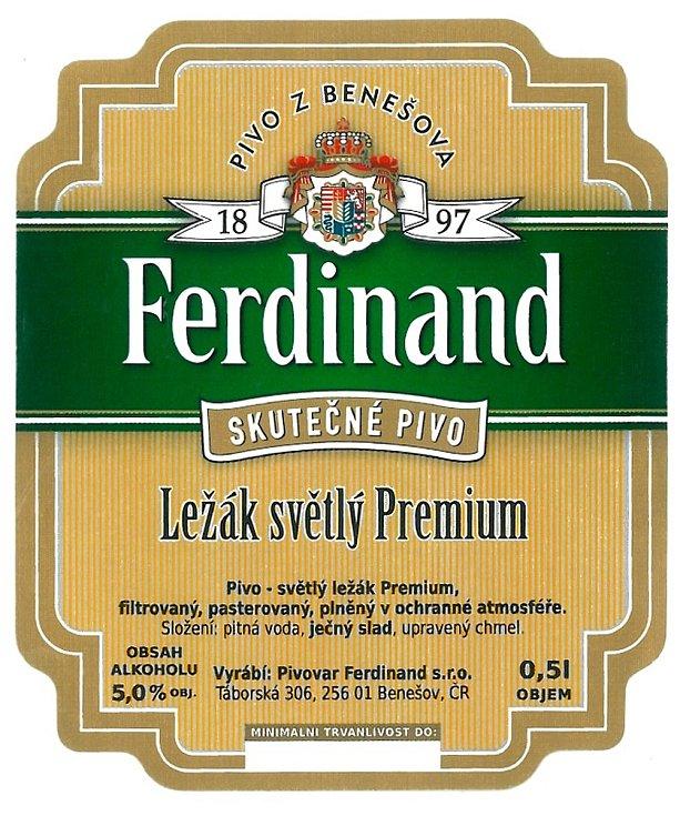 Pivní etiketa piva Ferdinand - světlého ležáku premium v roce 2005.