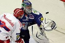 Utkání 3. kola Extraligy ledního hokeje mezi celky HC Mountfield České Budějovice a HC GEUS Okna Kladno. Domácí hráč František Ptáček nepromněnil nájezd a zajistil tak výhru Kladnu.