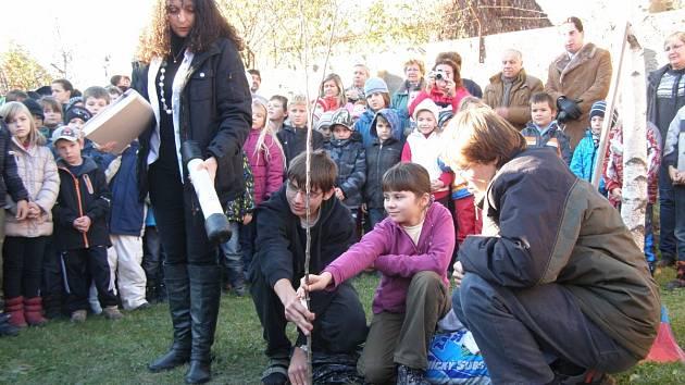 KE KOŘENŮM HRUŠNĚ ředitelka školy uložila schránku pro budoucí generace.