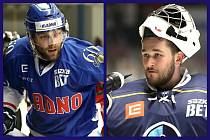 Tomáš Kaut (vlevo) a Adam Brízgala podepsali nové smlouvy s hokejovým Kladnem.