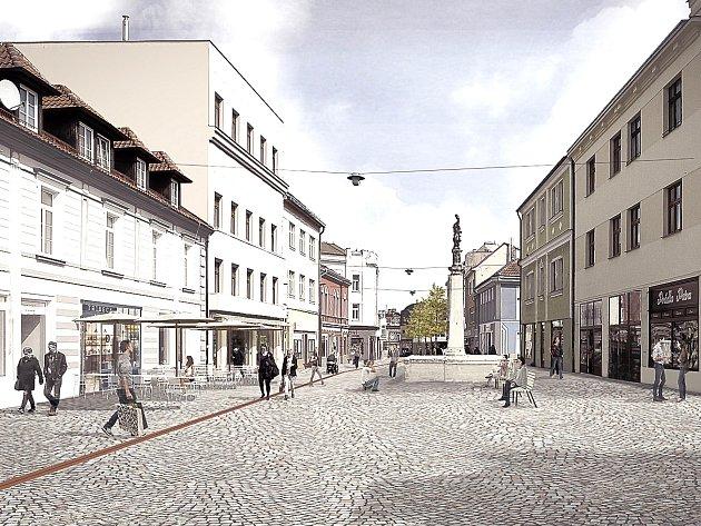 VIZUALIZACE MOŽNÉ PODOBY KLADENSKÉ PĚŠÍ ZÓNY z pera ateliéru D3A. V soutěži vypsané městem obsadil druhé místo.