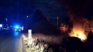 Požár zahradní chatky ve Slaném 29. listopadu 2020
