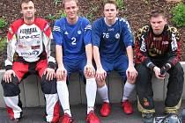 Nové posily čerstvě extraligového FbC Kladno: zleva Jan Bobisud, Martin Ryneš, David Ryneš a Martin Beneš.